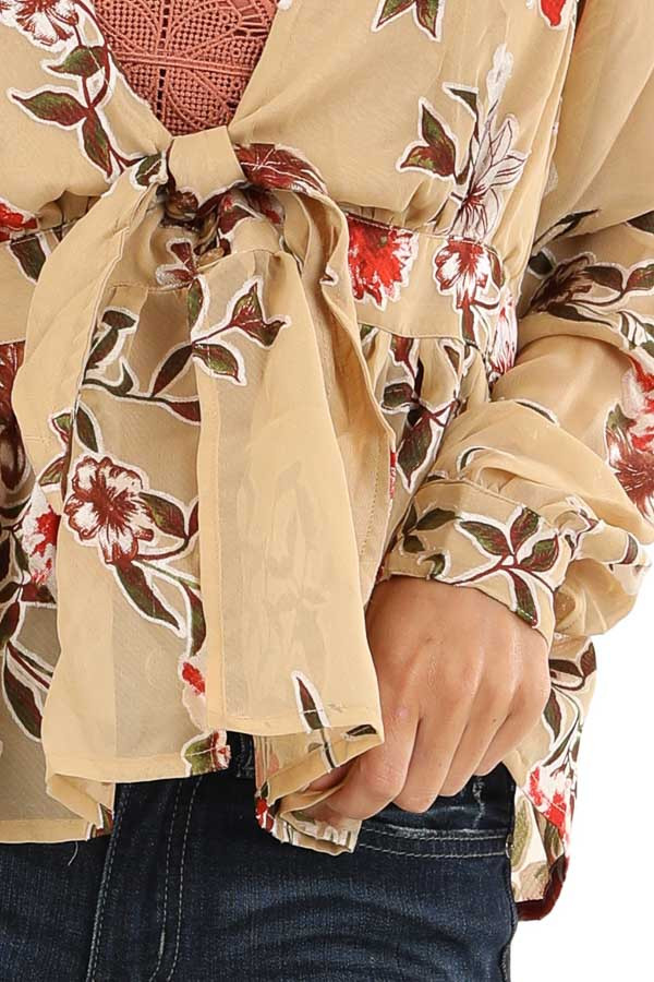 Taupe Floral Print Top with Deep V Neckline and Tie Detail detail