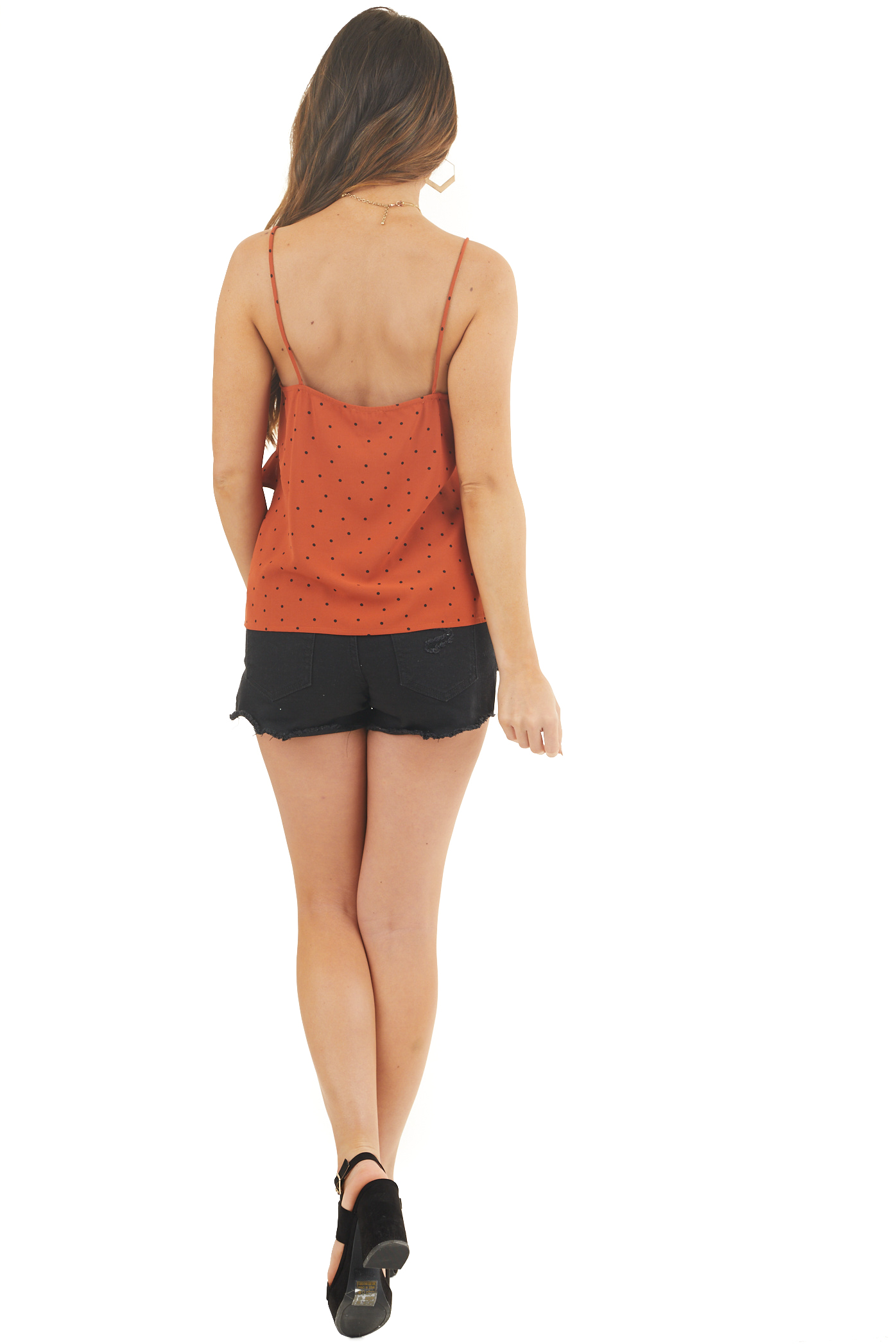 Rust and Jet Black Polka Dot Tank Top with Ruffle Details