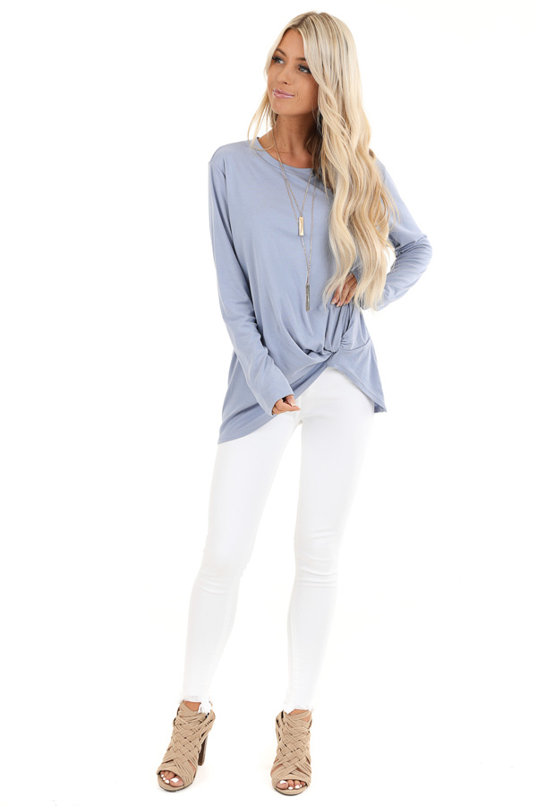 Periwinkle Long Sleeve Ribbed Knit Top with Front Twist front full body