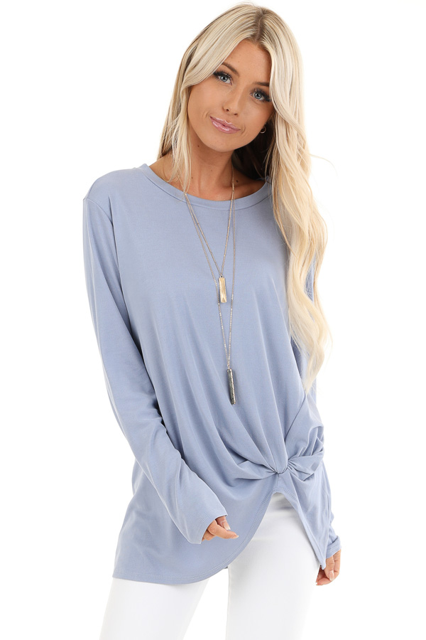 Periwinkle Long Sleeve Ribbed Knit Top with Front Twist front close up