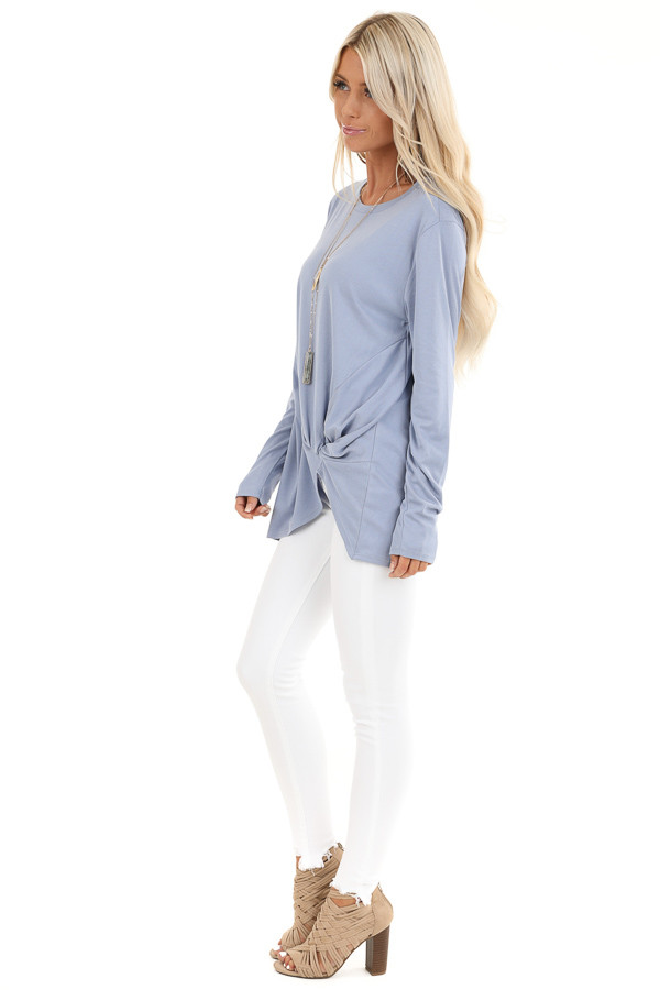 Periwinkle Long Sleeve Ribbed Knit Top with Front Twist side full body