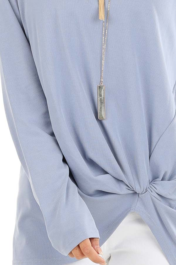 Periwinkle Long Sleeve Ribbed Knit Top with Front Twist detail