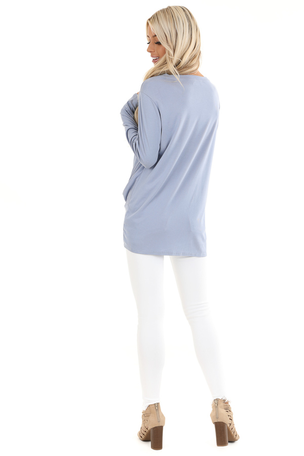 Periwinkle Long Sleeve Ribbed Knit Top with Front Twist back full body