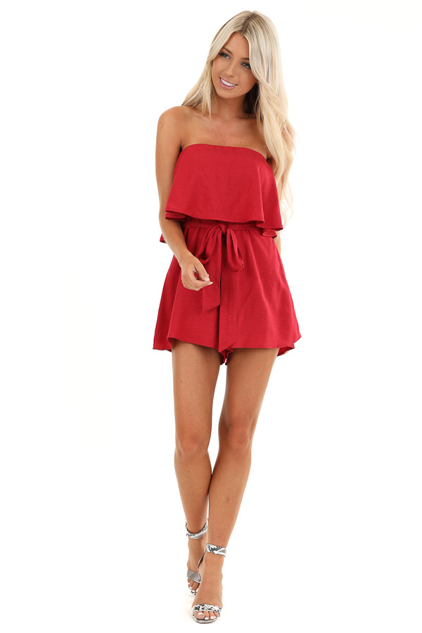 Crimson Red Flowy Tube Top Romper with Front Tie front full body