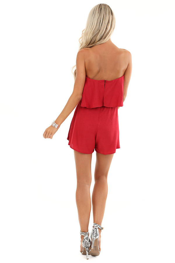 Crimson Red Flowy Tube Top Romper with Front Tie back full body