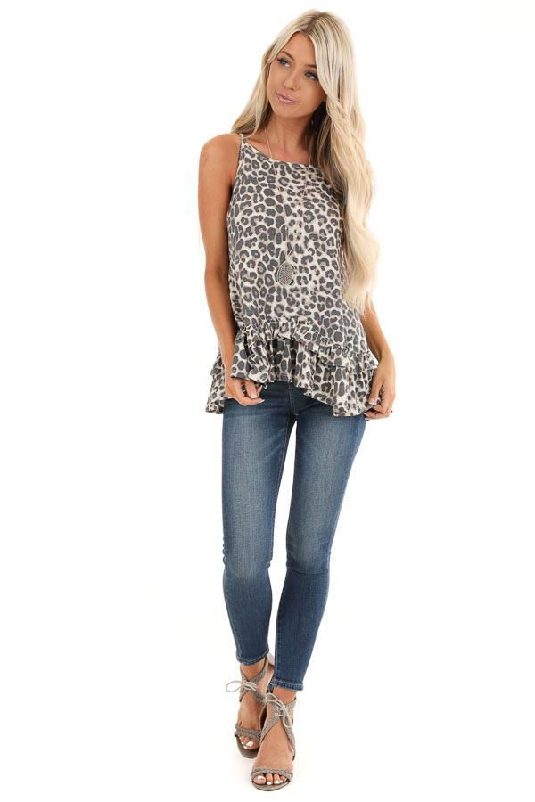 Taupe and Charcoal Leopard Print Tank with Ruffle Hemline front full body