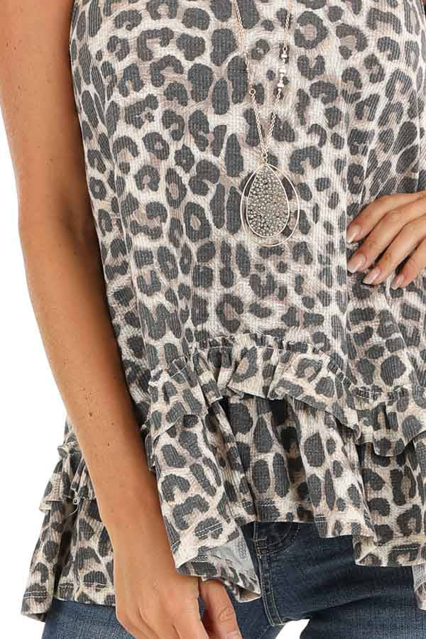 Taupe and Charcoal Leopard Print Tank with Ruffle Hemline detail