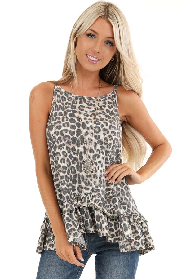 Taupe and Charcoal Leopard Print Tank with Ruffle Hemline front close up