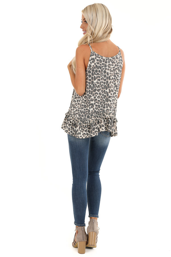 Taupe and Charcoal Leopard Print Tank with Ruffle Hemline back full body