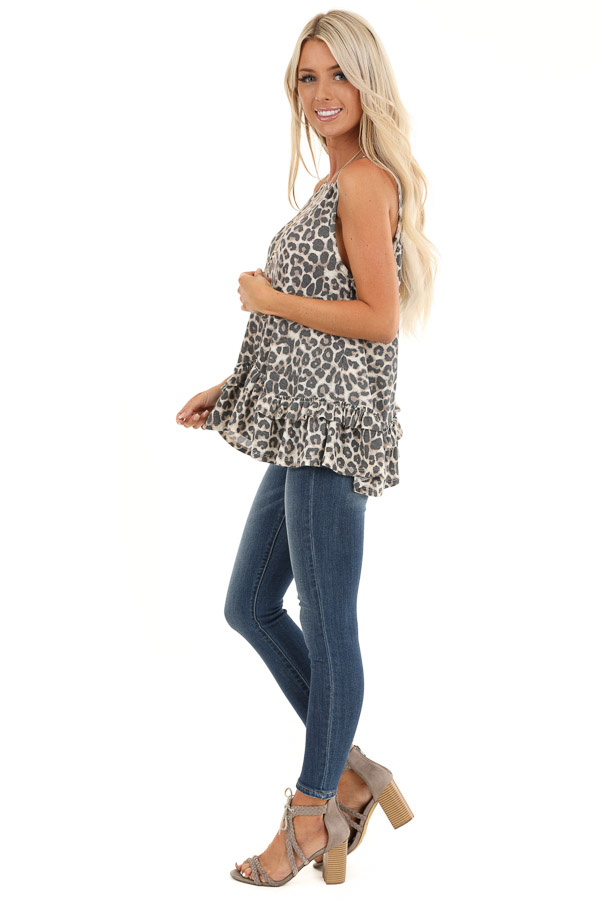 Taupe and Charcoal Leopard Print Tank with Ruffle Hemline side full body