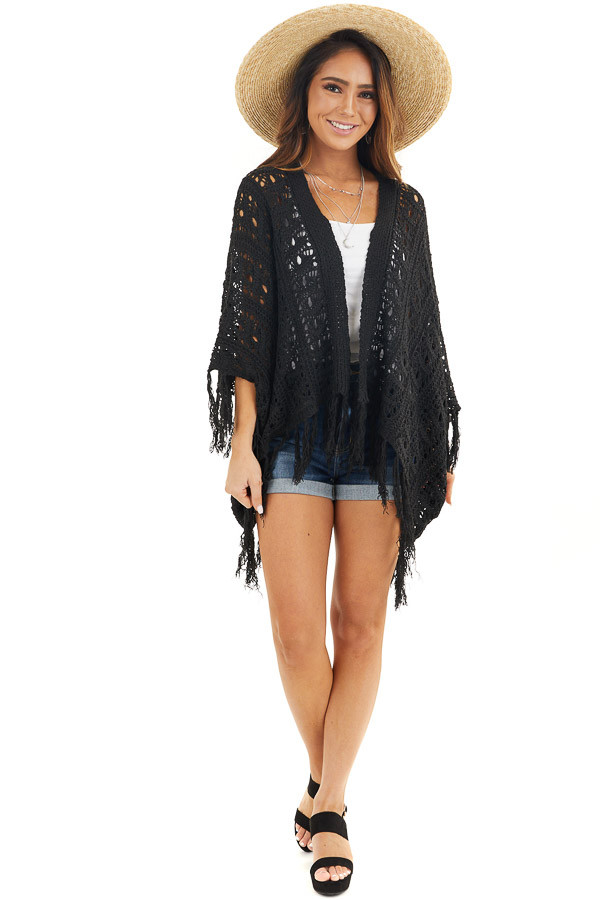 Raven Black Open Front Crochet Cardigan with Fringe Details front full body