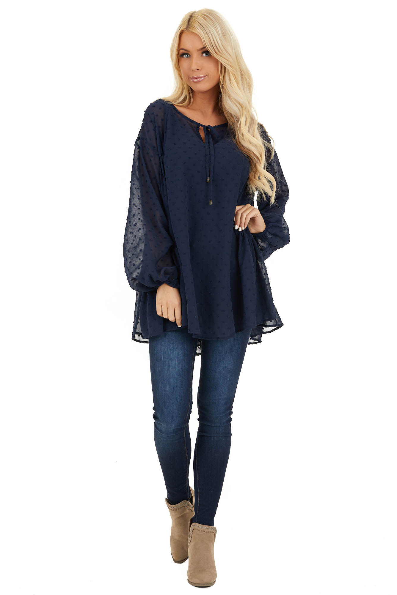 Midnight Navy Sheer Tunic Top with Swiss Dots and Self Tie front full body