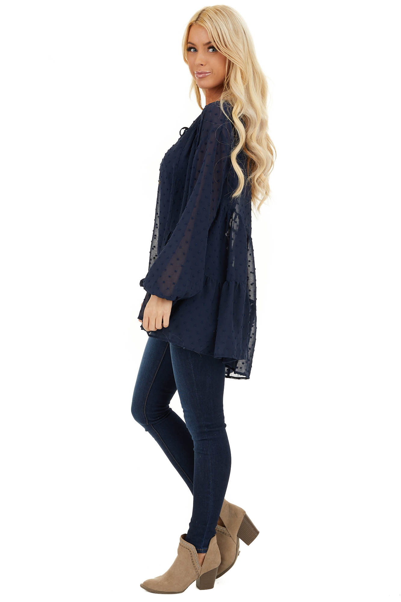 Midnight Navy Sheer Tunic Top with Swiss Dots and Self Tie side full body