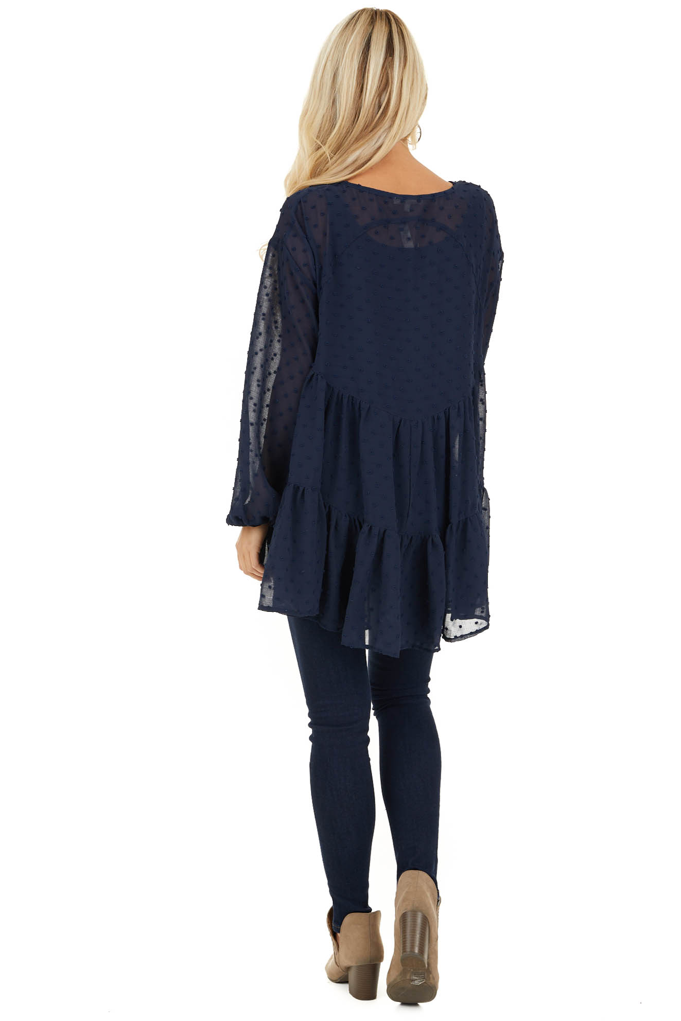 Midnight Navy Sheer Tunic Top with Swiss Dots and Self Tie back full body