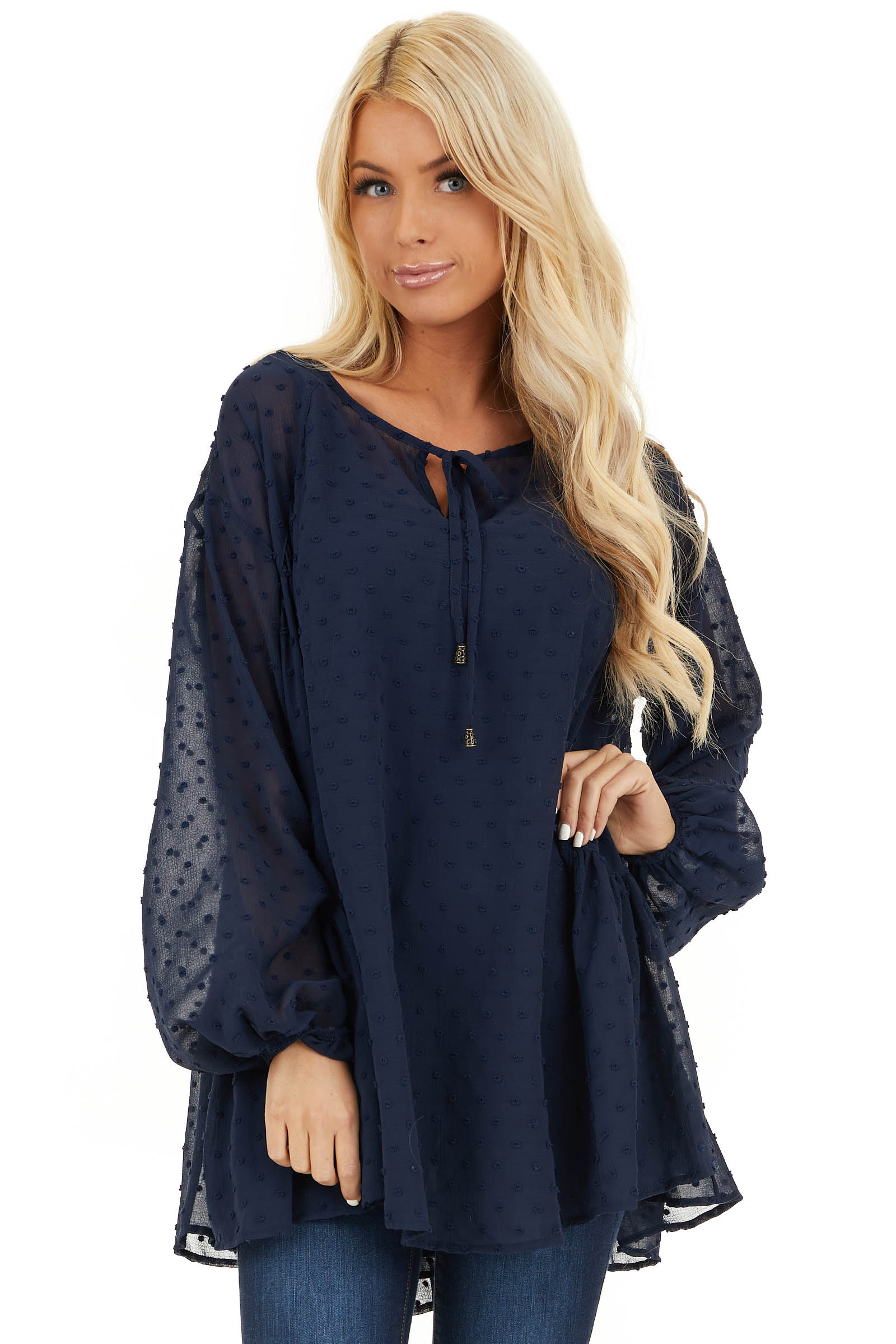 Midnight Navy Sheer Tunic Top with Swiss Dots and Self Tie front close up