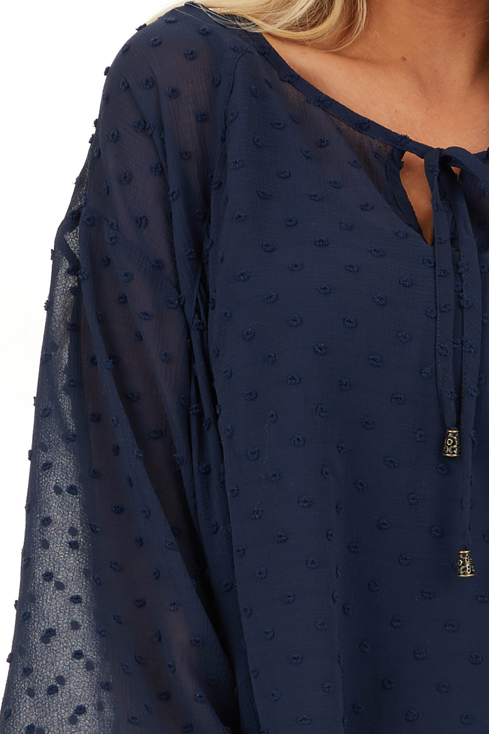 Midnight Navy Sheer Tunic Top with Swiss Dots and Self Tie detail