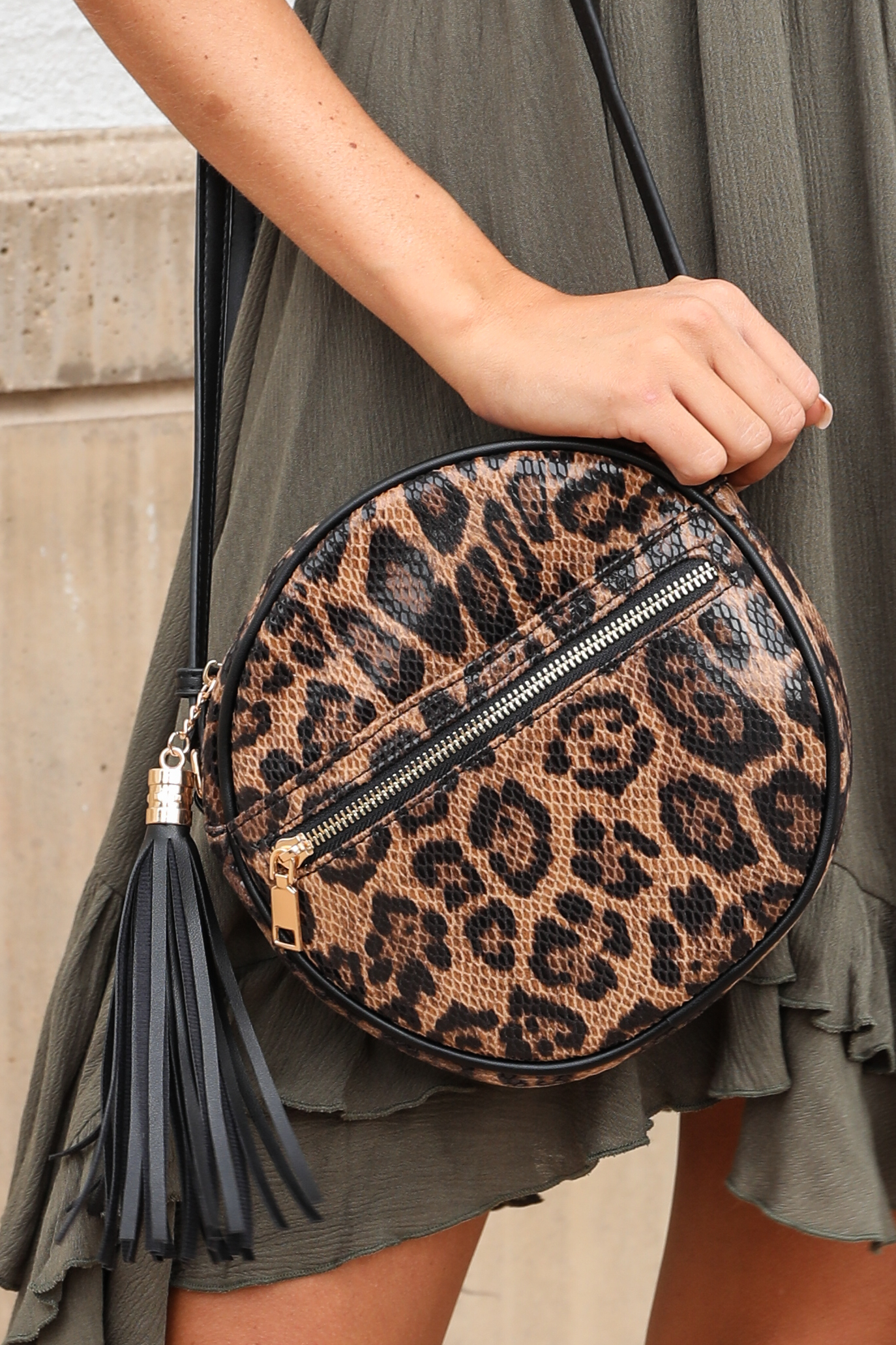 Caramel and Black Leopard Print Round Textured Shoulder Bag