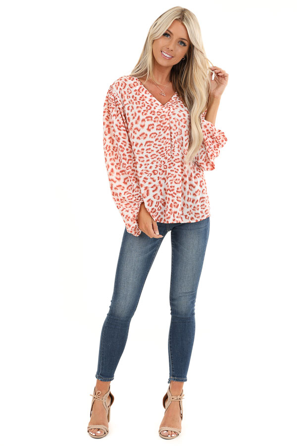 Ivory and Blush Animal Print Long Sleeve Top with V Neckline front full body