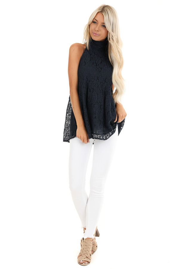 Midnight Blue High Neck Lace Top with Self Tie Back Closure front full body