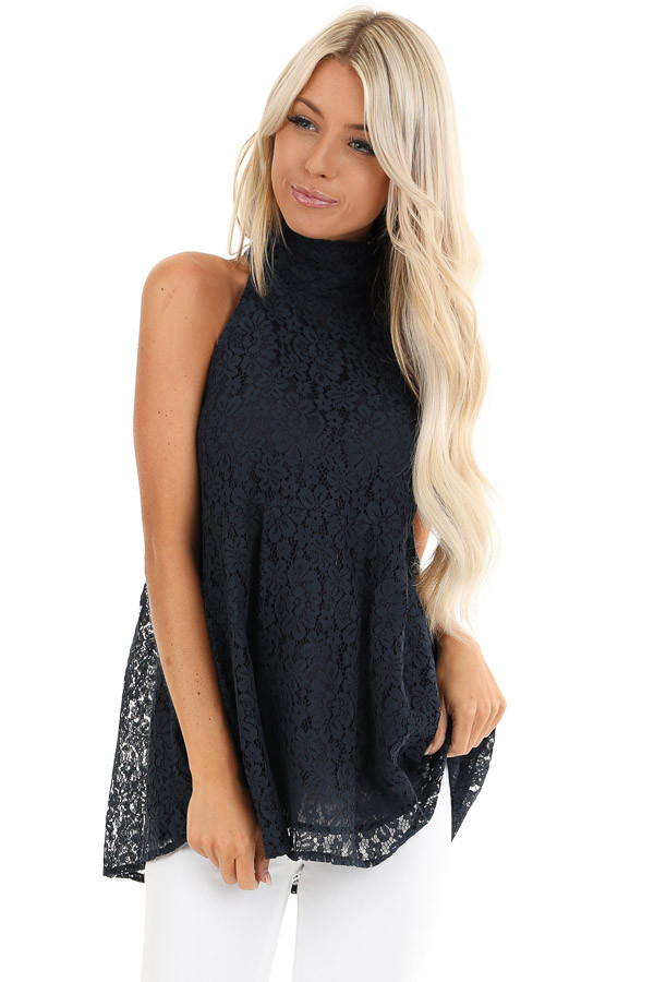 Midnight Blue High Neck Lace Top with Self Tie Back Closure front close up