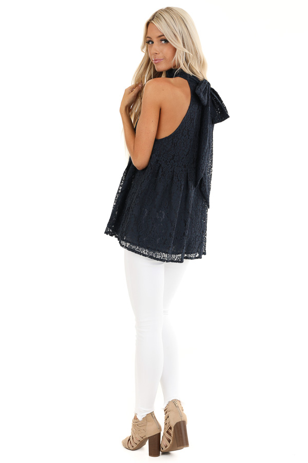 Midnight Blue High Neck Lace Top with Self Tie Back Closure back side full body