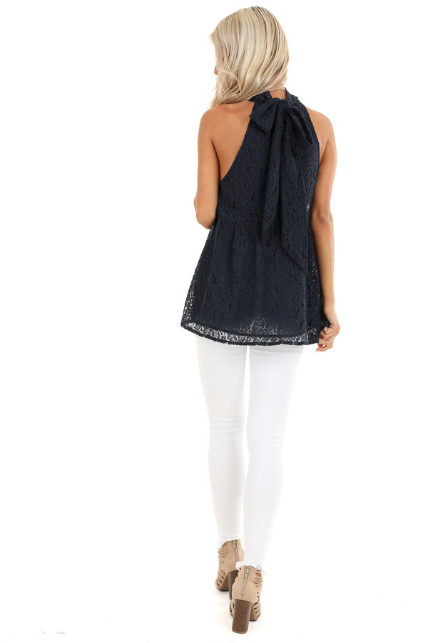 Midnight Blue High Neck Lace Top with Self Tie Back Closure back full body