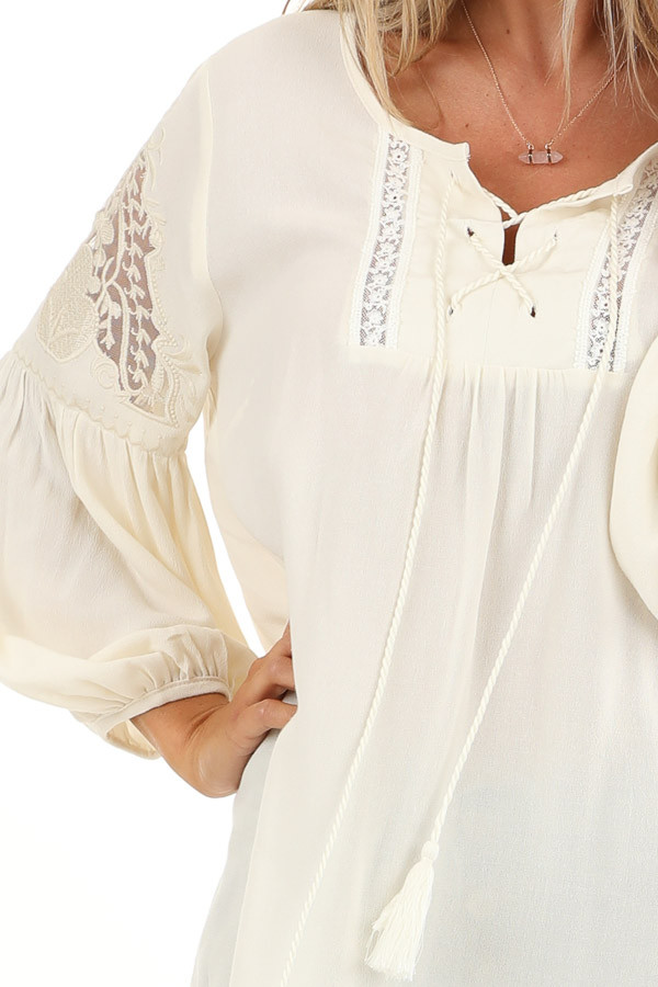 Vanilla Cream Embroidered 3/4 Sleeve Top with Front Tie detail