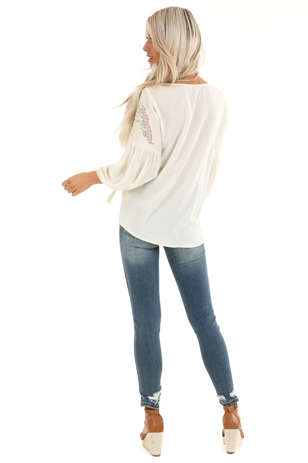 Vanilla Cream Embroidered 3/4 Sleeve Top with Front Tie back full body