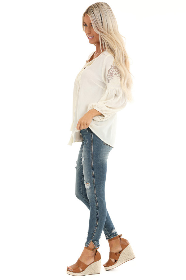 Vanilla Cream Embroidered 3/4 Sleeve Top with Front Tie side full body
