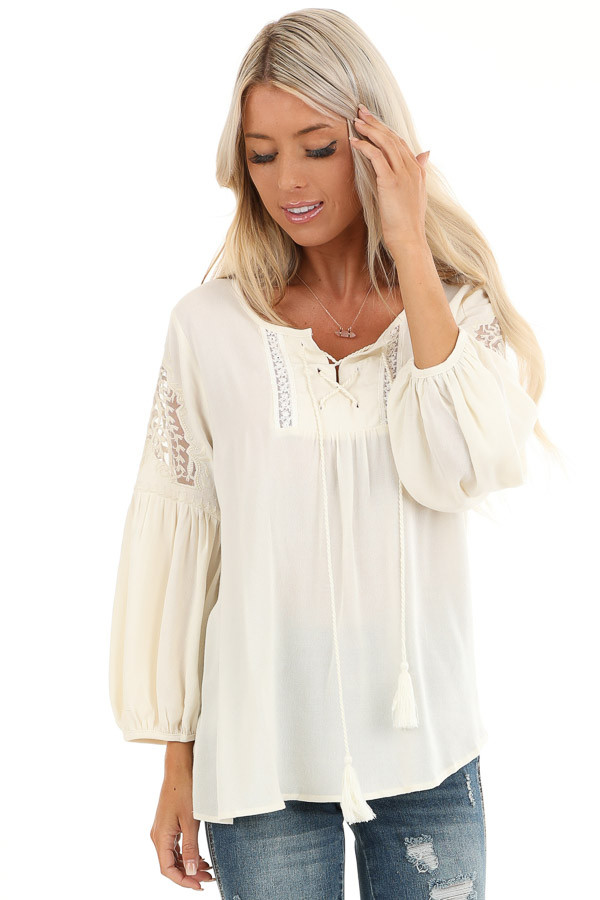 Vanilla Cream Embroidered 3/4 Sleeve Top with Front Tie front close up