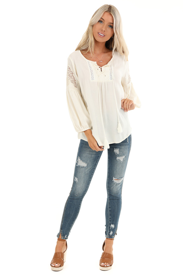 Vanilla Cream Embroidered 3/4 Sleeve Top with Front Tie front full body