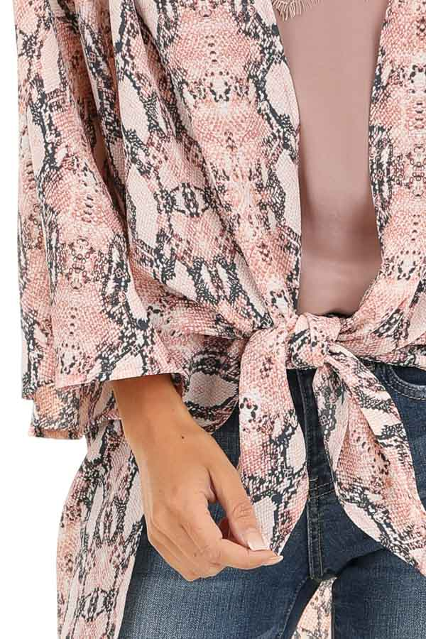 Coral Pink Sheer Snakeskin Kimono with Front Tie detail