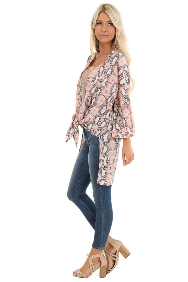 Coral Pink Sheer Snakeskin Kimono with Front Tie side full body