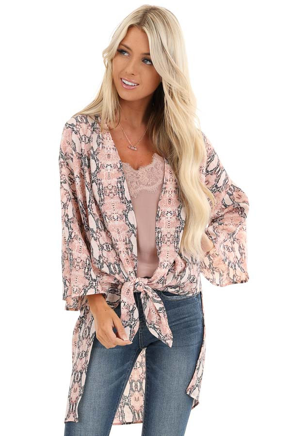 Coral Pink Sheer Snakeskin Kimono with Front Tie front close up