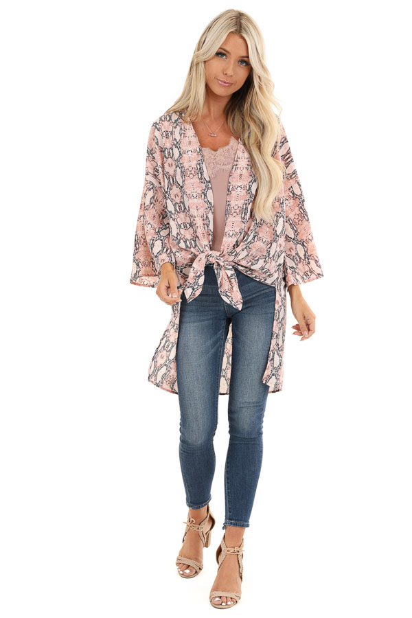 Coral Pink Sheer Snakeskin Kimono with Front Tie front full body
