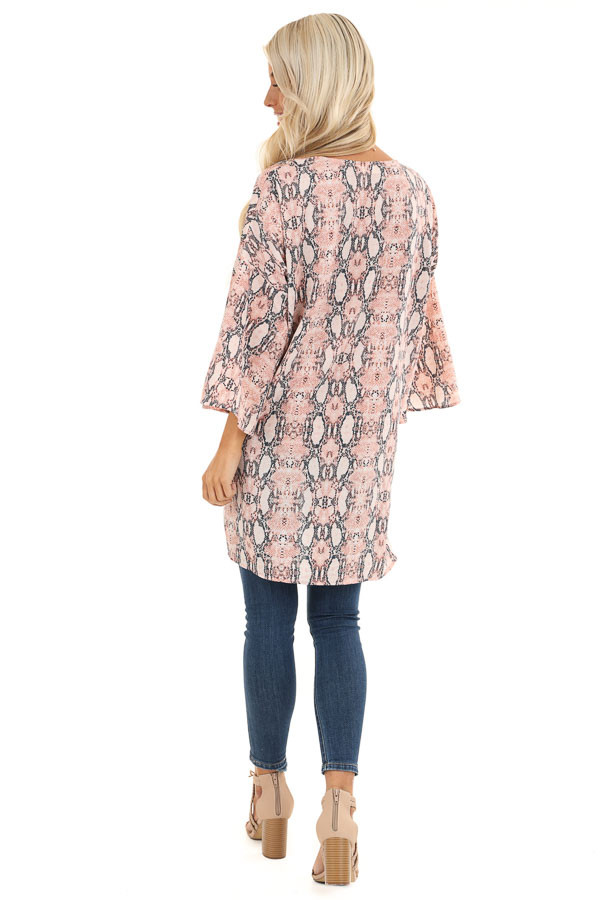 Coral Pink Sheer Snakeskin Kimono with Front Tie back full body