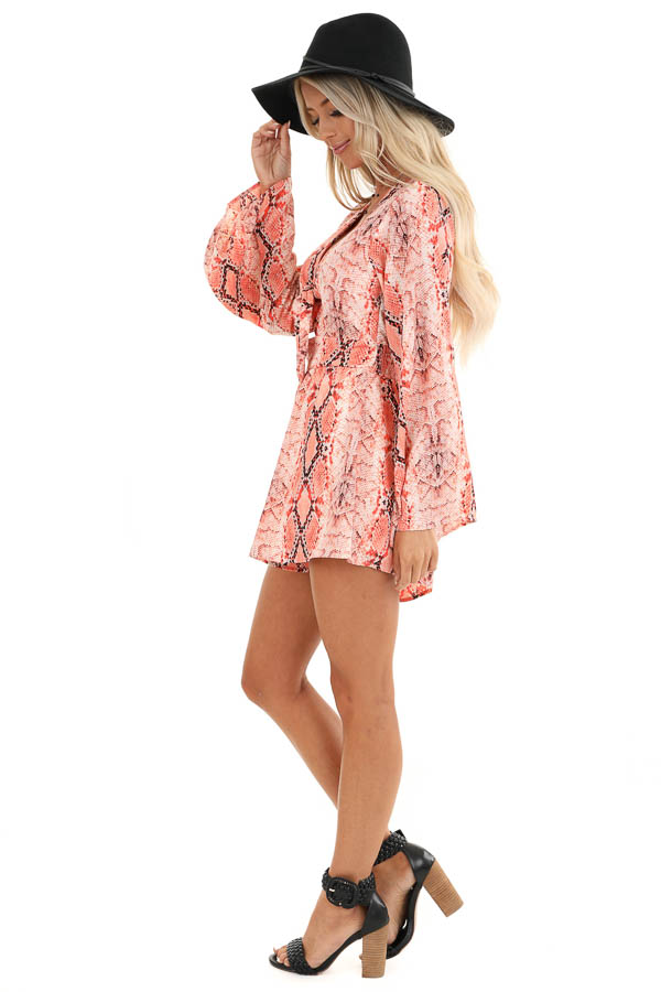 Coral Snakeskin Print Long Bell Sleeve Romper with Front Tie side full body