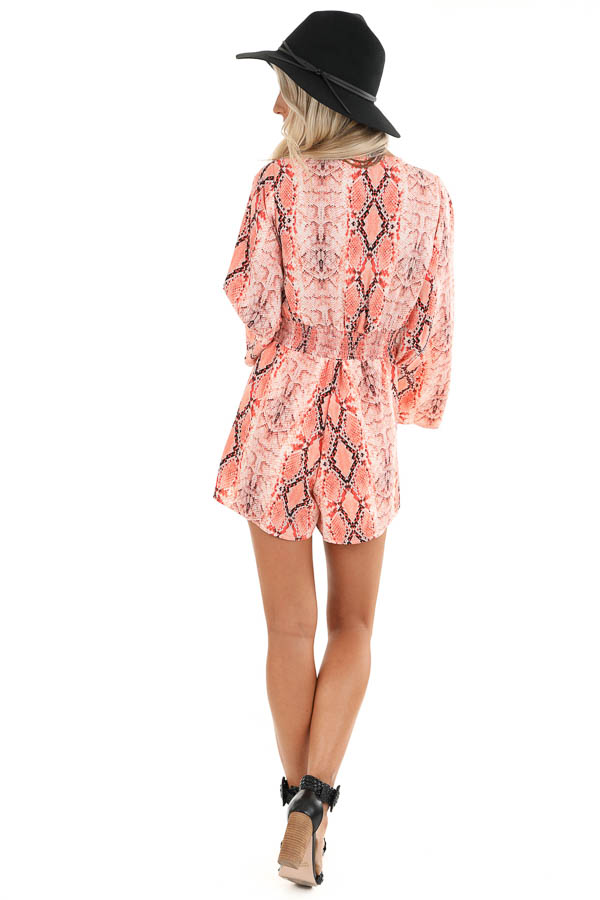 Coral Snakeskin Print Long Bell Sleeve Romper with Front Tie back full body