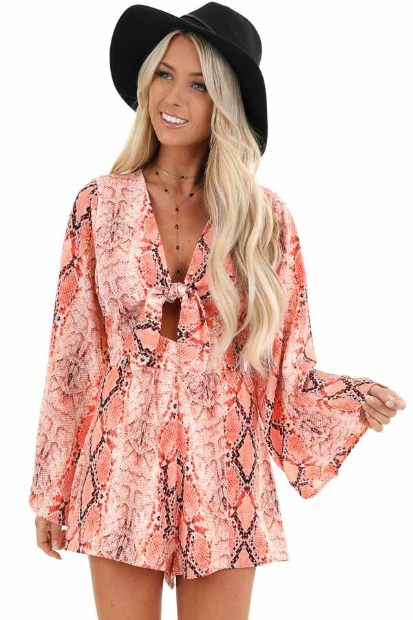 Coral Snakeskin Print Long Bell Sleeve Romper with Front Tie front close up