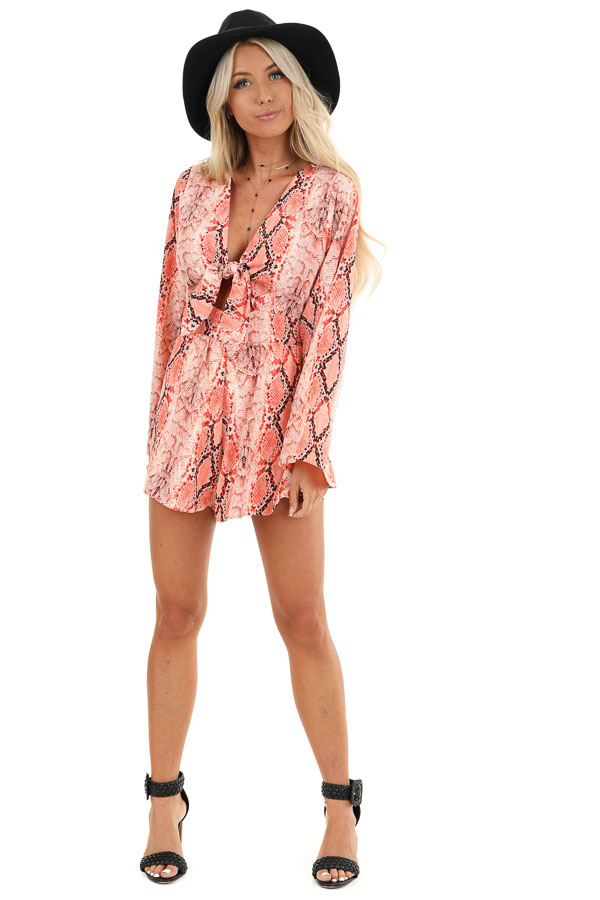 Coral Snakeskin Print Long Bell Sleeve Romper with Front Tie front full body