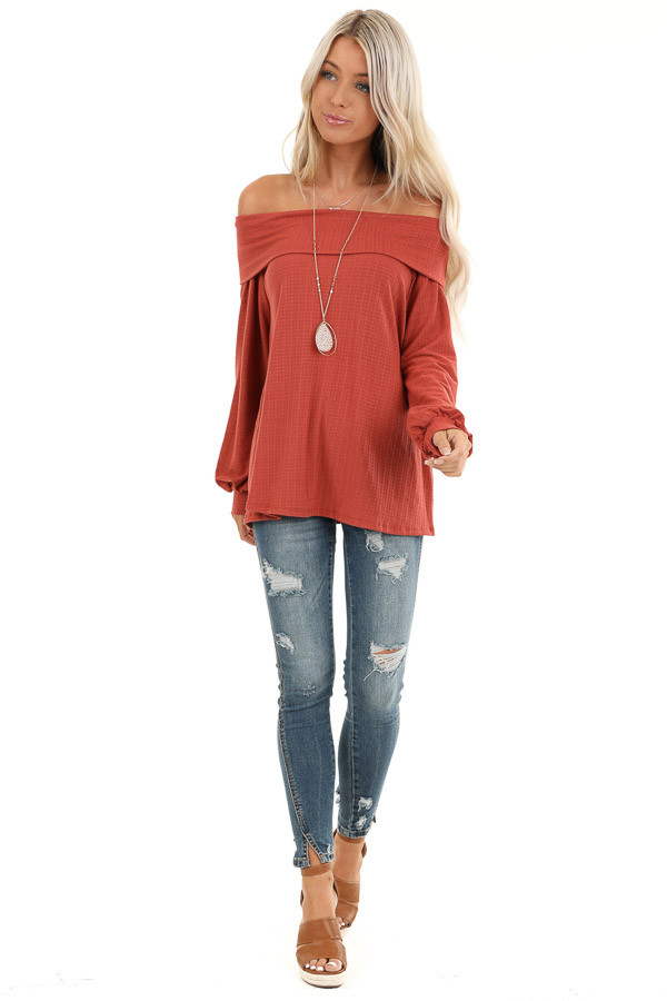 Rust Off the Shoulder Waffle Knit Top with Bubble Sleeves front full body