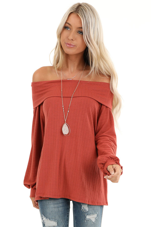 Rust Off the Shoulder Waffle Knit Top with Bubble Sleeves front close up
