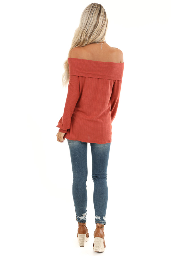 Rust Off the Shoulder Waffle Knit Top with Bubble Sleeves back full body