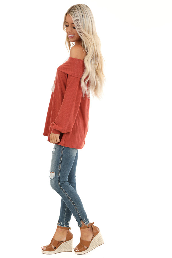 Rust Off the Shoulder Waffle Knit Top with Bubble Sleeves side full body