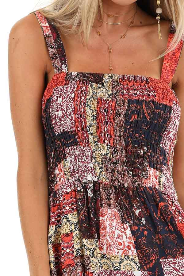 Multi Color Patchwork Print Maxi Dress with Smocked Bodice detail