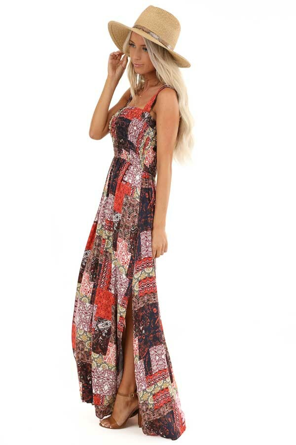 Multi Color Patchwork Print Maxi Dress with Smocked Bodice side full body