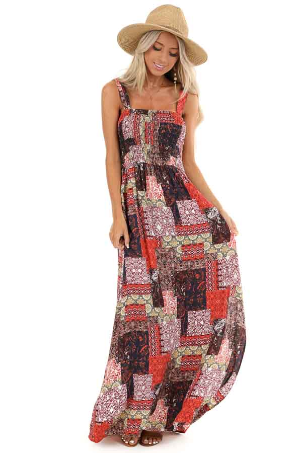Multi Color Patchwork Print Maxi Dress with Smocked Bodice front full body