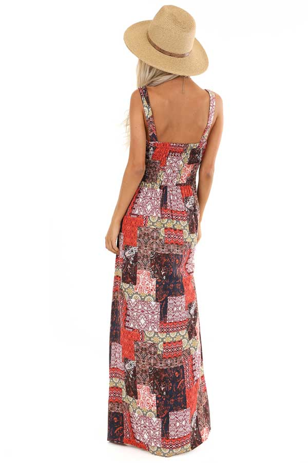 Multi Color Patchwork Print Maxi Dress with Smocked Bodice back full body