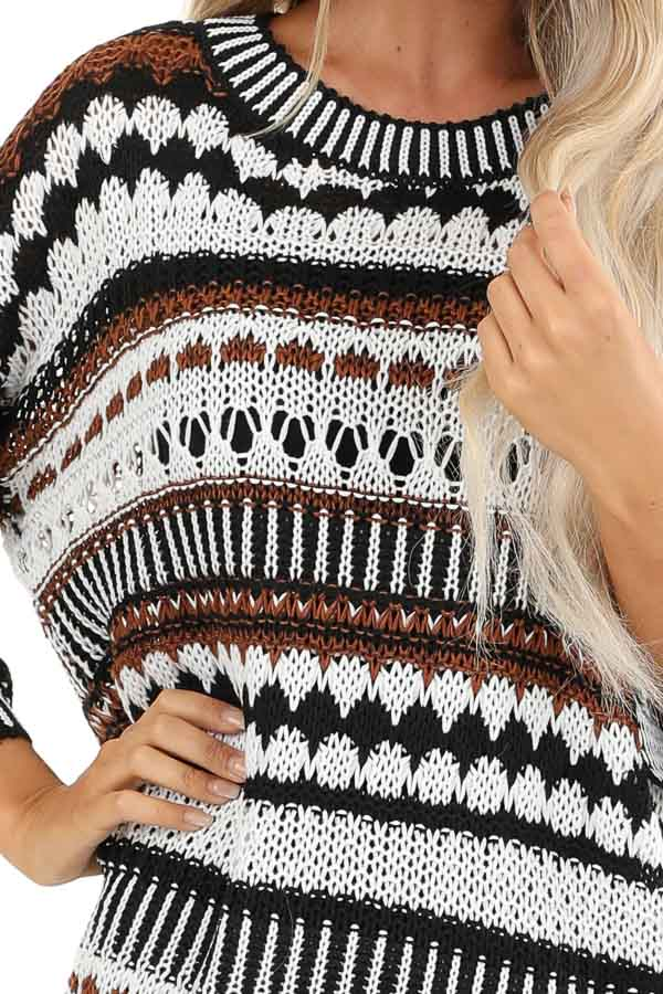 Walnut and Ivory Crochet Sweater with 3/4 Length Sleeves detail