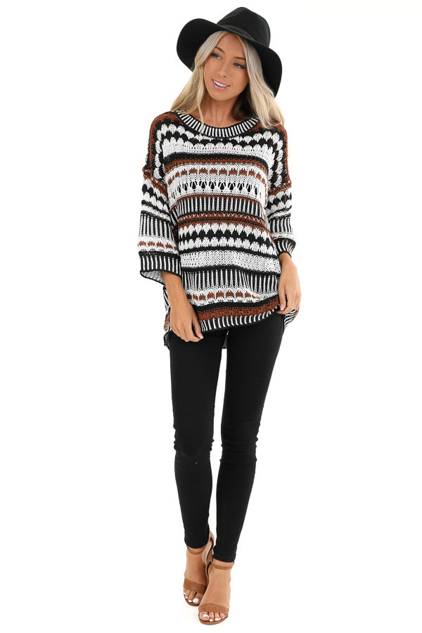 Walnut and Ivory Crochet Sweater with 3/4 Length Sleeves front full body